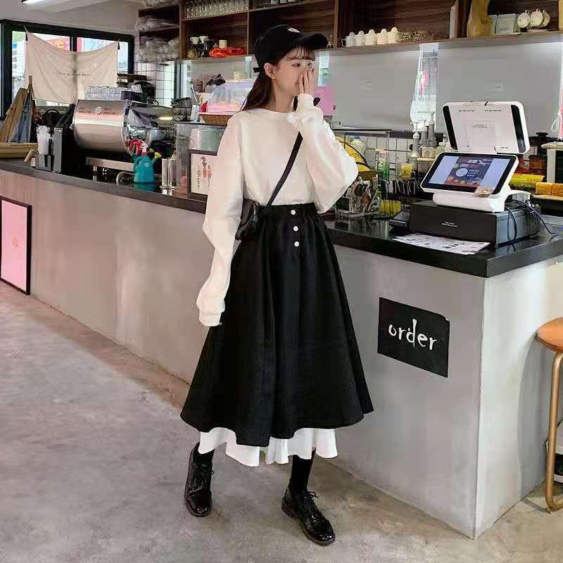 Korean Half Length Skirt Women's 2021 Spring Autumn High Waist Retro Short Skirt Academy Style Black