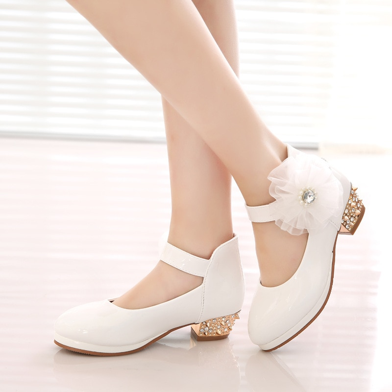 Boutique Children's Shoes 2021 New Girls' Leather Shoes High Heel Waterproof Platform Dance Shoes