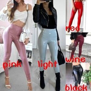 Женские Сексуальные виниловые леггинсы из искусственной кожи с высокой талией, обтягивающие кожаные блестящие брюки, Клубная одежда, штаны...