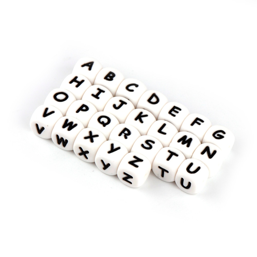 TYRY.HU 10pcs Letter Silicone Teething Beads Baby Chewing Alphabet Beads For Personalized Name DIY T