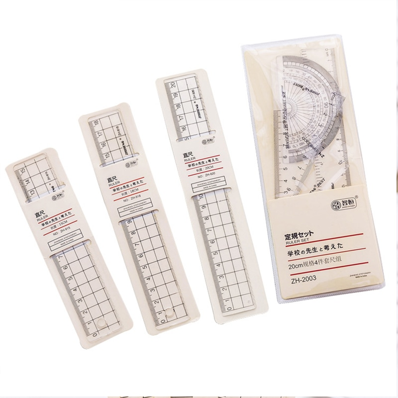 4pcs Grid Ruler Transparent Plastic Ruler School Student Protractor Office Learn Stationery Drawing School Supplies Kids Gift недорого