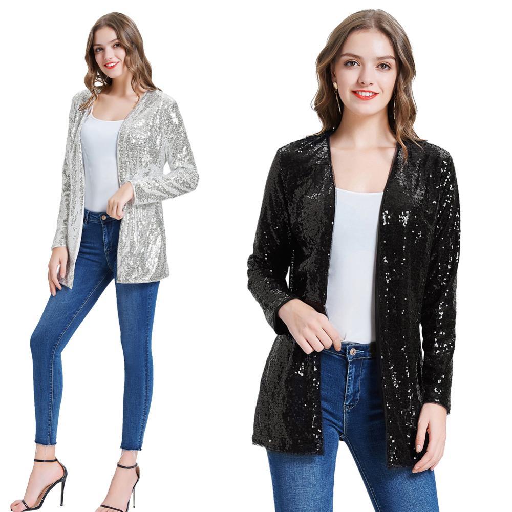 Kate Kasin mujeres lentejuela brillante chaqueta impresionante frente abierto de manga larga Cardigan prendas de vestir de moda lentejuelas Streetwear KC000075