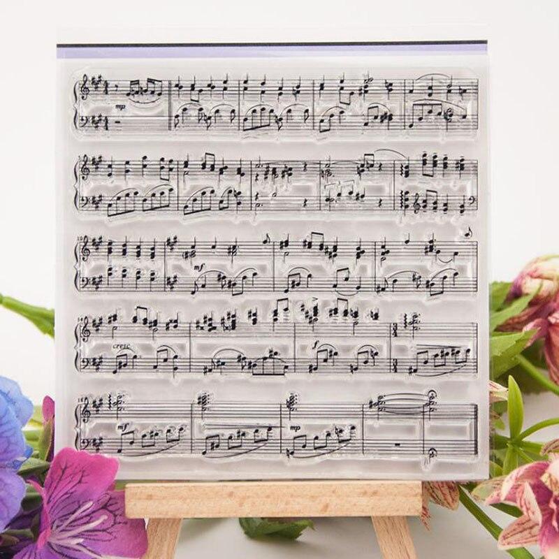 Sellos de silicona transparente con símbolos de notas musicales de 10x10cm para sellos de álbum para recortes de fotos 1 Uds.