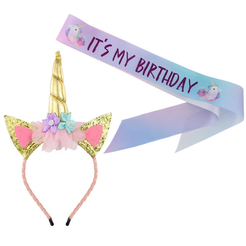 Opaska jednorożec i satyna jedwabna skrzydła zestaw jednorożec opaska do włosów dekoracje na przyjęcie urodzinowe zaopatrzenie firm z okazji urodzin Party Favor