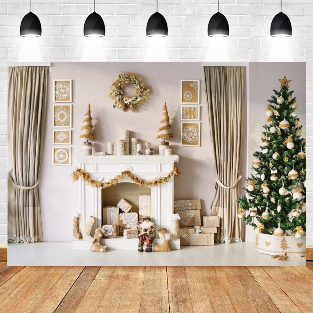 Merry Christmas Santa Tree Fireplace House Gift Baby Child Portrait Photo Backgrounds Photography Backdrop for A Photo Studio clock decorations fireplace christmas tree wall photography backgrounds vinyl cloth computer printed christmas photo backdrop