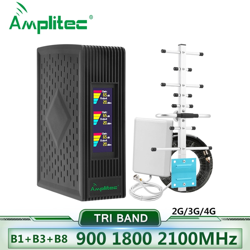 Amplitec 4G Repeater Cellular Signal Amplifier 850/1700/1900 Tri-Band Cellphone Repeater 900/1800/2100 Mobile Signal Booster Kit