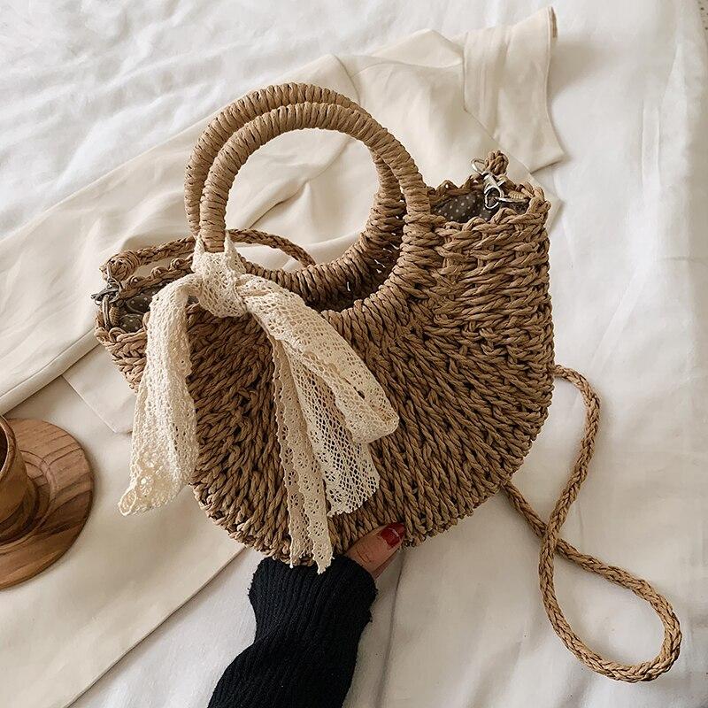 OLSITTI Straw Bag Women Woven Handbag Moon Shape Lace Bow Rattan Bag Big Capacity Drawstring Casual
