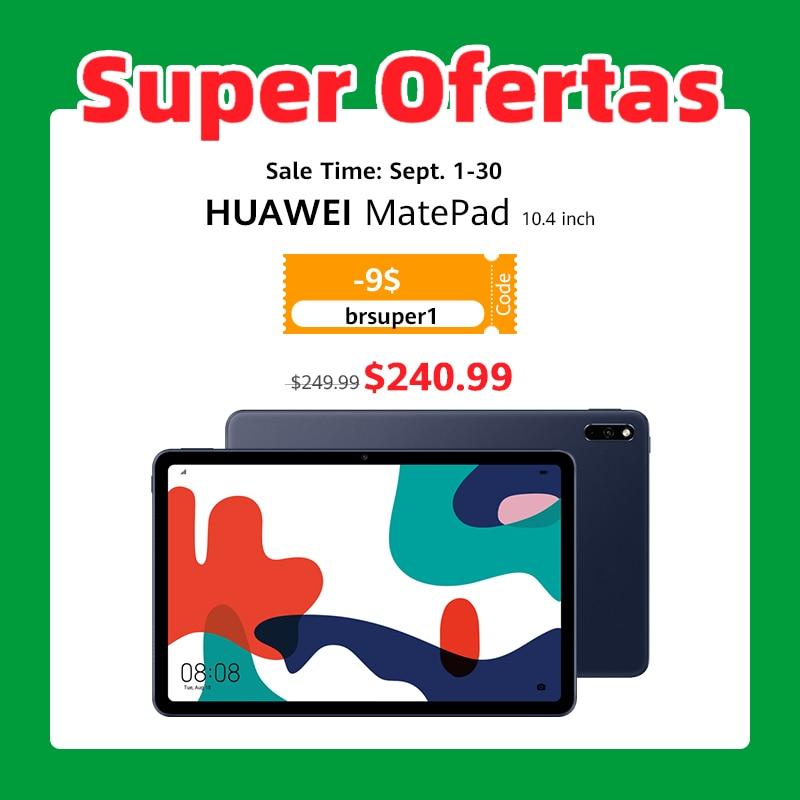 COD: brsuper1(99-9$) Versão global huawei matepad 10.4 polegada tablet pc 4gb128g 820 octa núcleo multi-tela gpu turbo android10 7250mah código: eossaff23