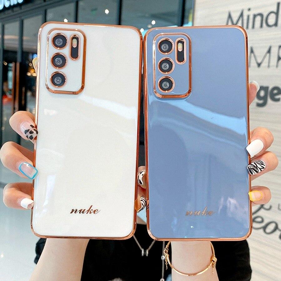 Case For Huawei P40 P20 P30 Lite P50 Pro Mate 20 30 40 Case Soft Fashion Square Plating Funda Cover
