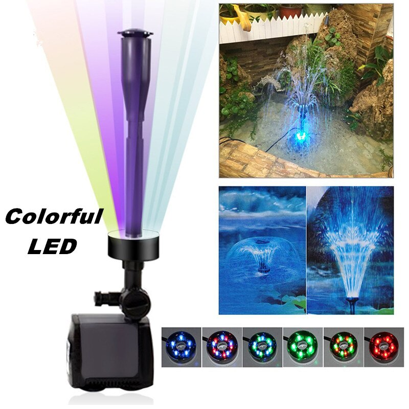 40w 2000l/h Submersible Aquarium Water Fountain Pump Fish Tank Pond Garden LED Fountain Maker Aquatic Pump With Colorful LED