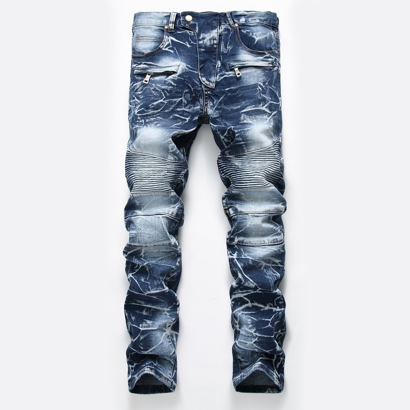 2020 New Brand Mens  Fashion Slim Jeans Skinny Moto Biker Casual Jeans Straight Motorcycle Jeans Men Destroyed Denim Trousers five pockets destroyed skinny jeans