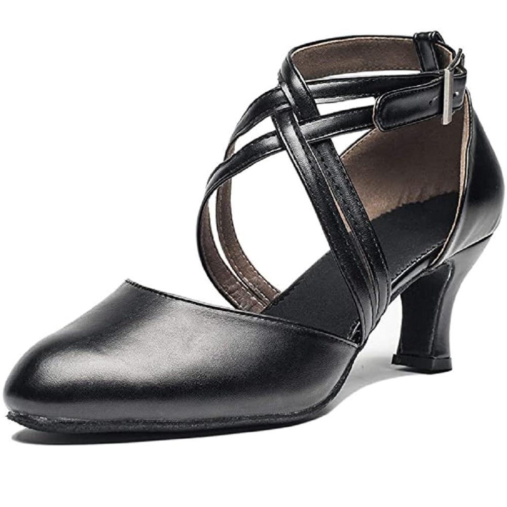 Zapatos de salón latino con correa cruzada para mujer, zapatos de baile negros de punta estrecha para personajes, zapatos de baile modernos para Tango, Salsa, fiesta, vestido Pump ALS041