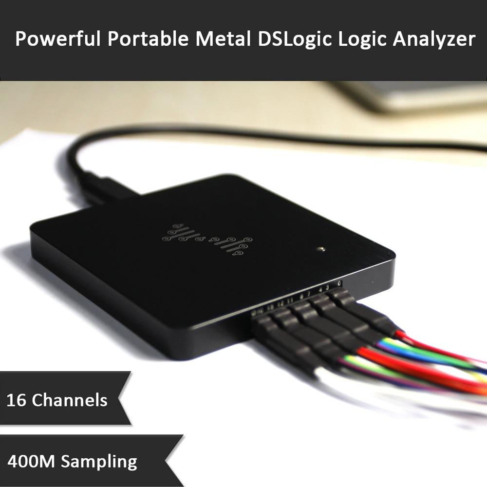 Potente analizador de lógica DSLogic de Metal 16 canales 400M de muestreo analizador lógico de depuración basado en USB