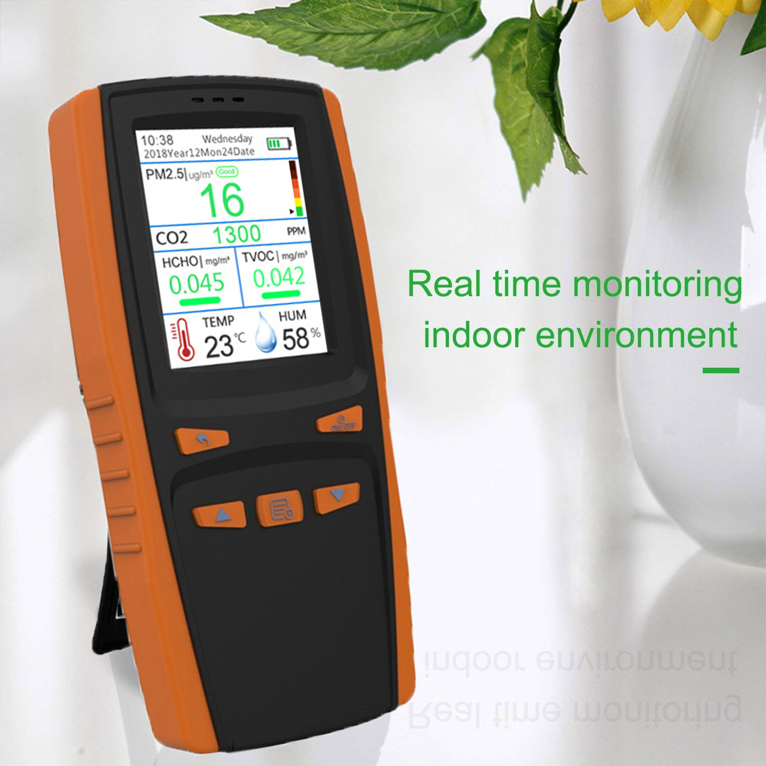 HANTECH Portable Air Quality Pollution Monitor, 7 in 1 Indoor Formaldehyde Detector, Detect PM2.5 TVOC HCHO CO2 AQI Micron Dust