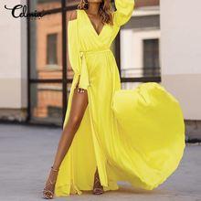 Sexy Off Shoulder Bohemian Maxi Dress Celmia Women Fashion Dress Sashes Ruffles V Neck High Split Long Party Vestidos Robe S-5XL