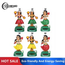 Eco-friendly and energy-saving Hawaiian girl solar car decoration beauty grass skirt swing piece office supplies car