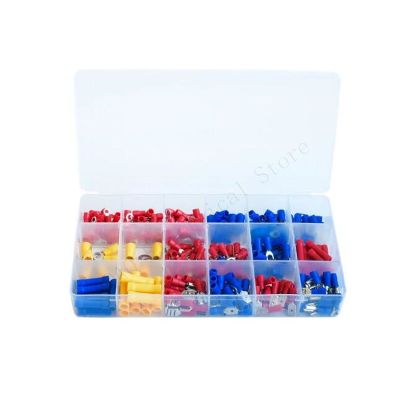 300pcs electrical wire crimp terminals kit insulated terminator spade butt connectors assorted terminales set 300pcs Electrical Wire Crimp Terminals Kit Insulated Terminator Spade Butt Connectors Red Yellow Blue Assorted terminales Set