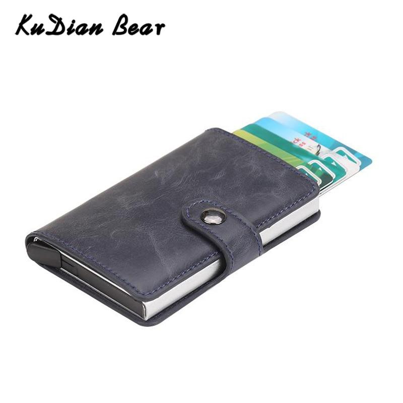KUDIAN oso RFID bloqueo titular de la tarjeta de crédito de Metal de aluminio soporte de tarjeta de identificación de negocios Tarjeta De Caso corto hombres cartera BIH202 PM49