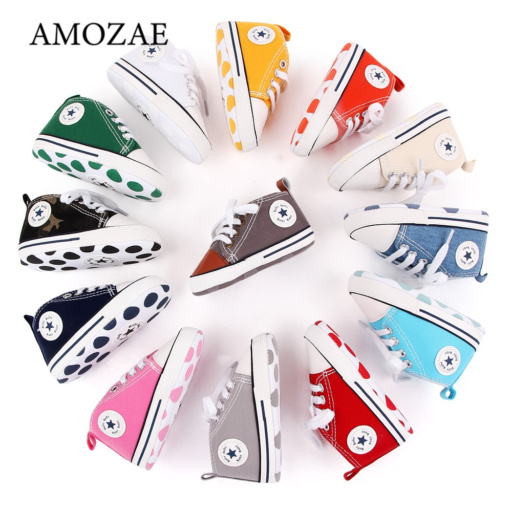 New Canvas Baby Sports Sneakers Shoes Newborn Baby Boys Girls First Walkers Shoes Infant Toddler Sof