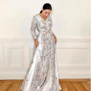 White Elegant Split Moroccan Caftan Evening Dress V-Neck Floor Length Applique Flowers Special Occasion Party Dress Summer Dress