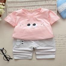 DAILOU Summer Girls Clothes Sets Fashion Suit T-shirt + Short Pants Suit Baby Girls Cute Pink Casual Suit Clothing Sets