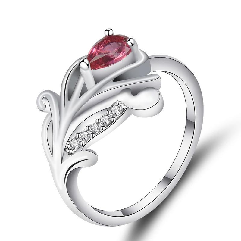 Elegante anillo de circón único pluma flor señora hoja anillo CZ moda fiesta cumpleaños dedo joyería accesorios de satisfacción