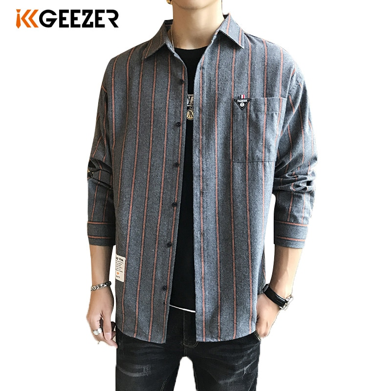 Camisa a rayas de franela a cuadros para hombre, vestido de esmoquin, camisa Formal informal de manga larga ajustada, bolsillo de alta calidad, Dropshipping grueso