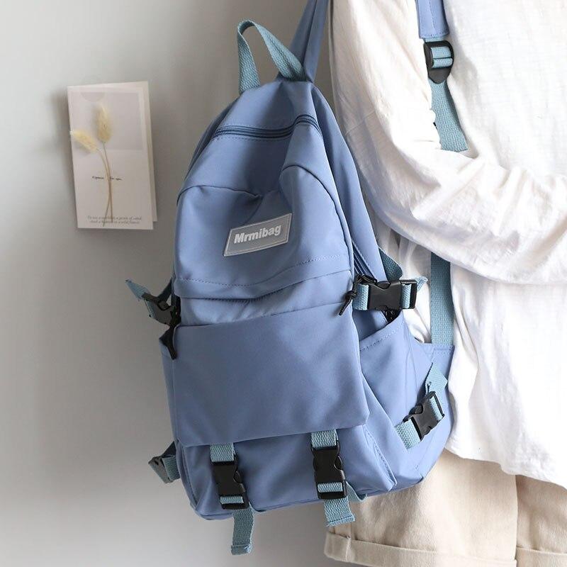 Mochila De Color sólido Tooling para mujer, mochila escolar de gran capacidad para niñas, bolso universitario para hombre, mochila coreana para mujer 2020