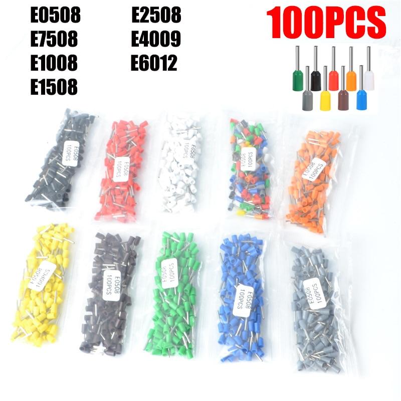 100 pieces/package E0508 E7508 E1008 E1508 E2508 insulated bushing junction box cable end wire connector crimping terminal