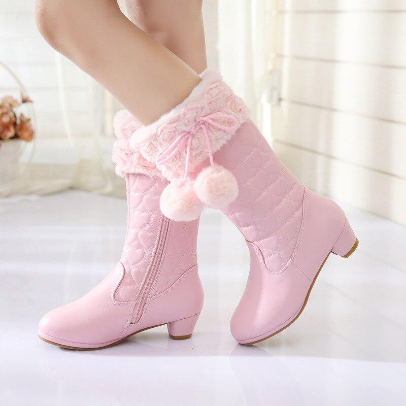 Spot girl boots 2020 winter new Korean version of the Princess High Heeled Cotton Boots kids sweet fur high kids boots girls enlarge