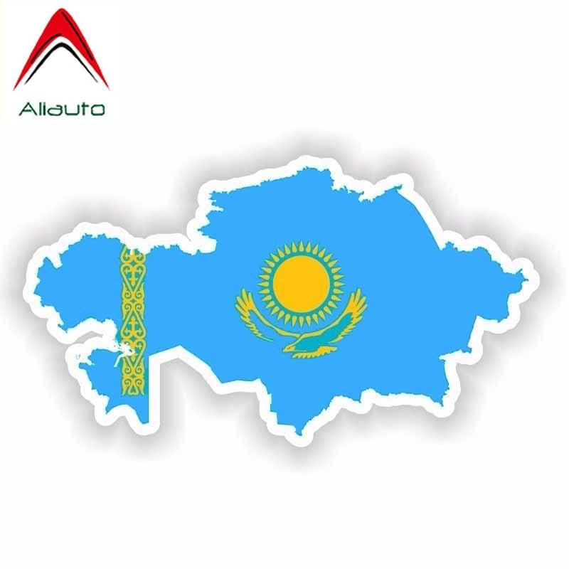 Aliauto personalidad pegatina de coche creativa Kazajstán mapa bandera impermeable protector solar calcomanía casco accesorios, 15cm * 8cm