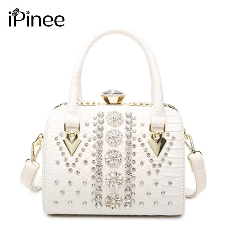 IPinee جلدية بوسطن حقيبة يد للنساء الماس حقيبة كتف فاخرة حمل حقيبة وسادة سعة صغيرة