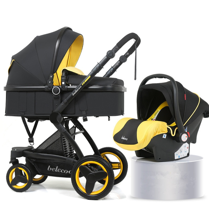 Luxury Baby Stroller 3 in 1 with Car Seat Portable Reversible High Landscape Baby Stroller Hot Mom Pink Stroller Travel Pram