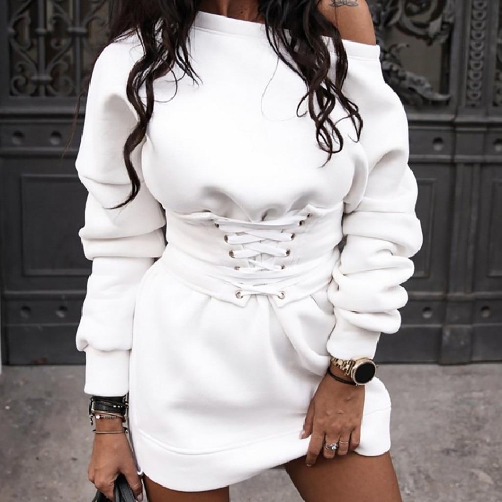 Dress Female Fashion Women's Solid O-neck Long Sleeve Fleece Thick Dress+Waistband Belt Bandage Dress Winter Streetwear Vestido