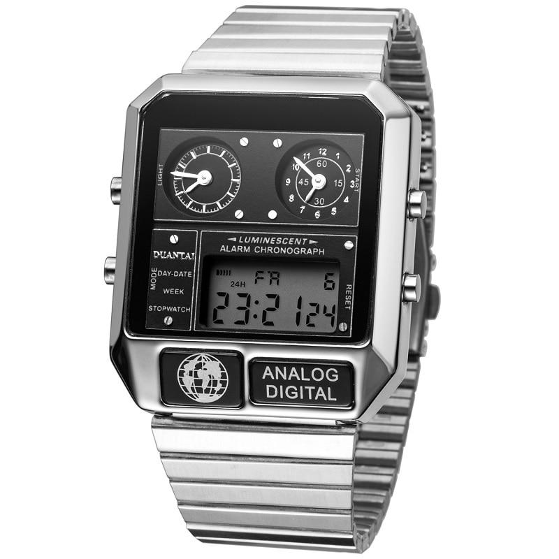 DUANTAI Mens Luxury Fashion Full Steel Square Watch Dual Synchronous&10-Bit LED Digital Watch Men Sport Watch часы мужские