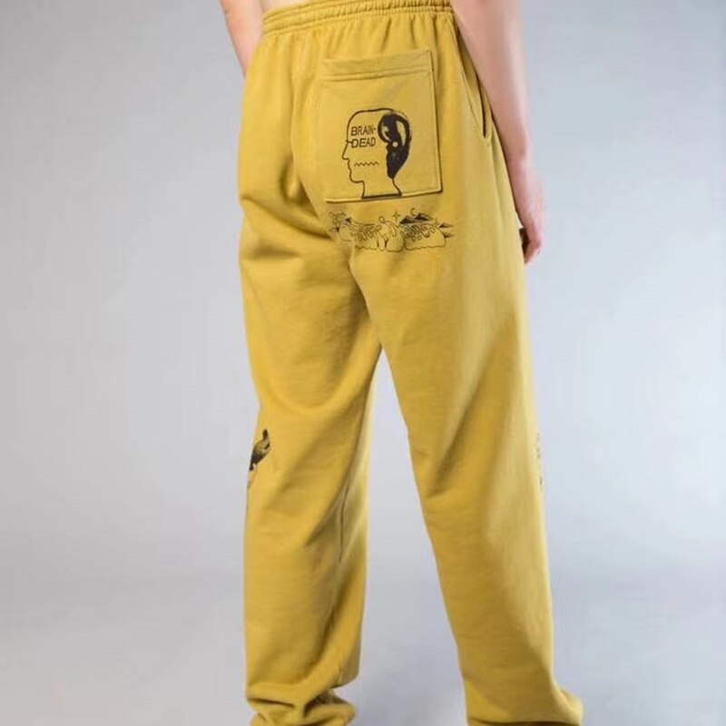 20SS KANYE WEST BRAIN DEAD GUSTAVO pantalones de chándal pantalones de menwomen pantalones kanye west de hip hop street moda de longitud completa