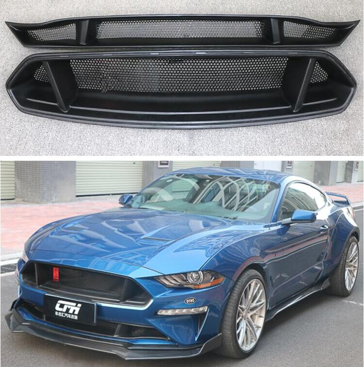 Parrillas de rejilla para parachoques delantero, de fibra de carbono, arriba y abajo, para Ford Mustang 2018 2019 2020 2021 (2 unids/set)