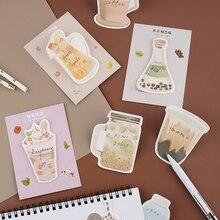 Boissons thé au lait Snack Mini Notes autocollantes décoratives Notes auto-adhésives facile à poster mémo tampons pour la maison, le bureau, cahier 30 feuilles