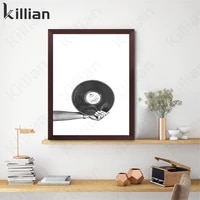 modern fashion black and white vinyl record print poster picture wall art canvas painting musician gift music studio decoration
