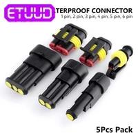 5pcspack waterproof connector plug 1 2 3 4 5 6 pins way mototcycle car auto sealed black plug ip68 cable connector terminals
