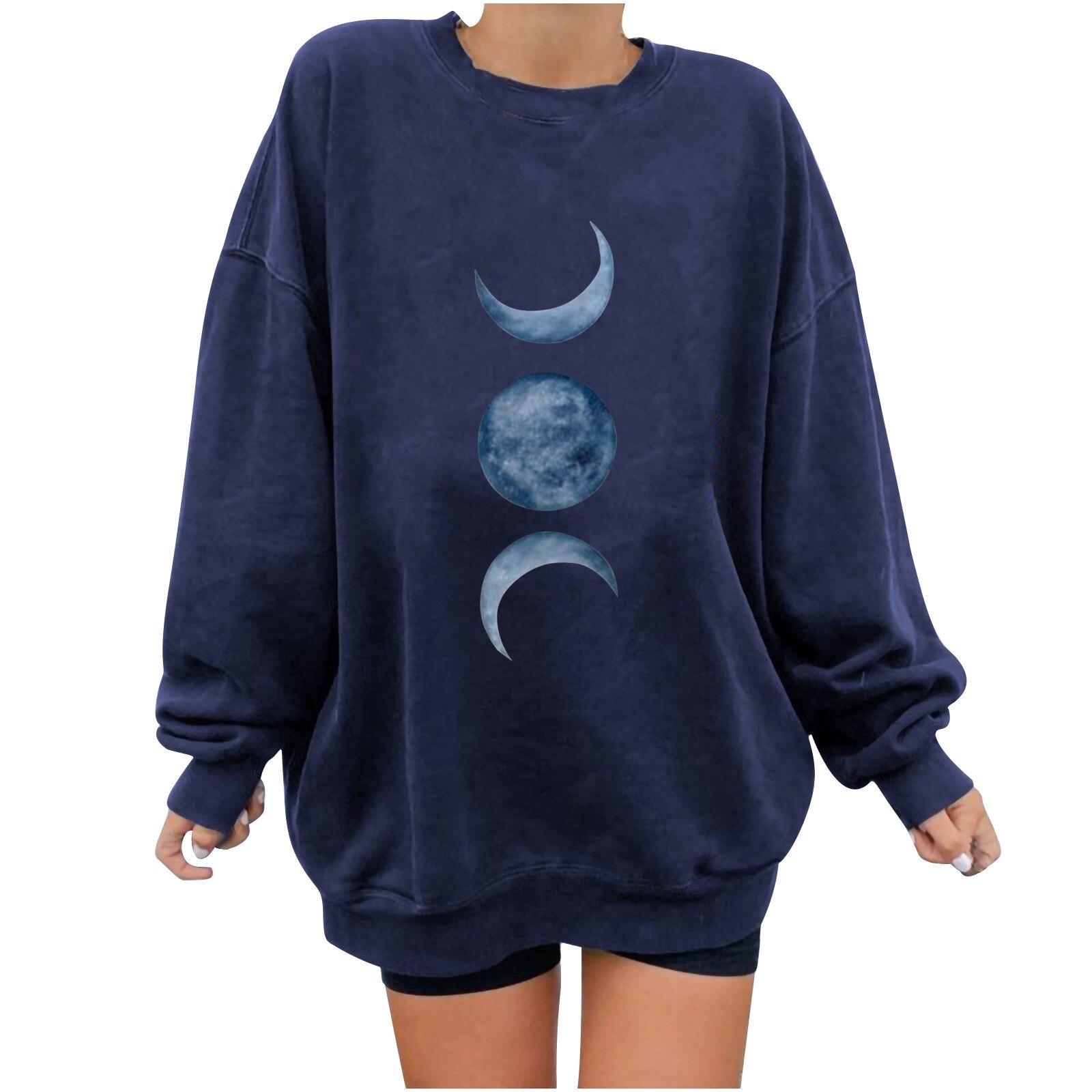 long sleeve scrawl printed v neck tee Moon Personalized Printed O-Neck Sweater Long Sleeve Loose Fashion Women's T-shirt Sweater Casual Female Tee Top