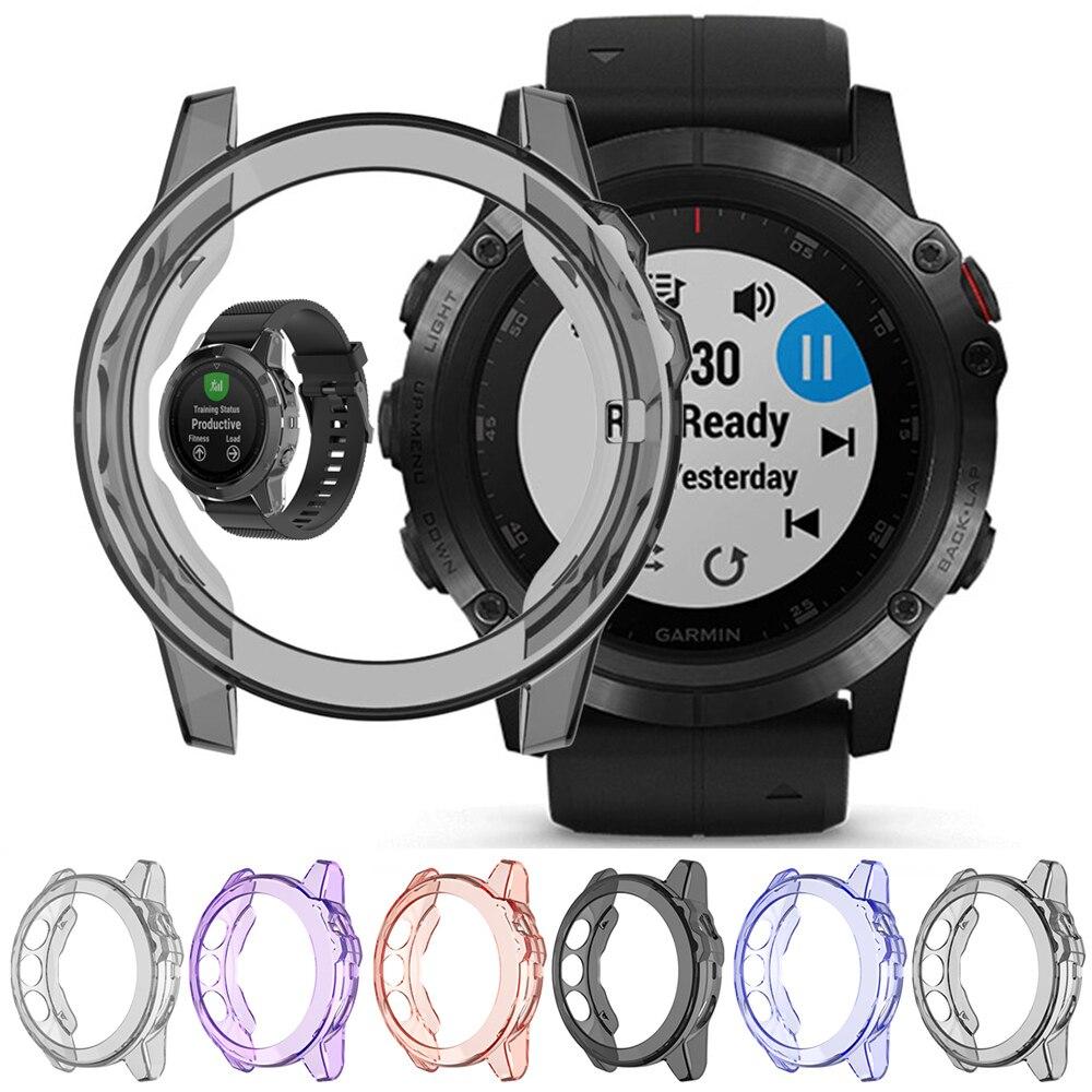 For Garmin Fenix 5 5S 5X Plus Soft Crystal Clear TPU Protector Case Cover Frame Smart watch accessories Fenix5 Fenix5X Shell