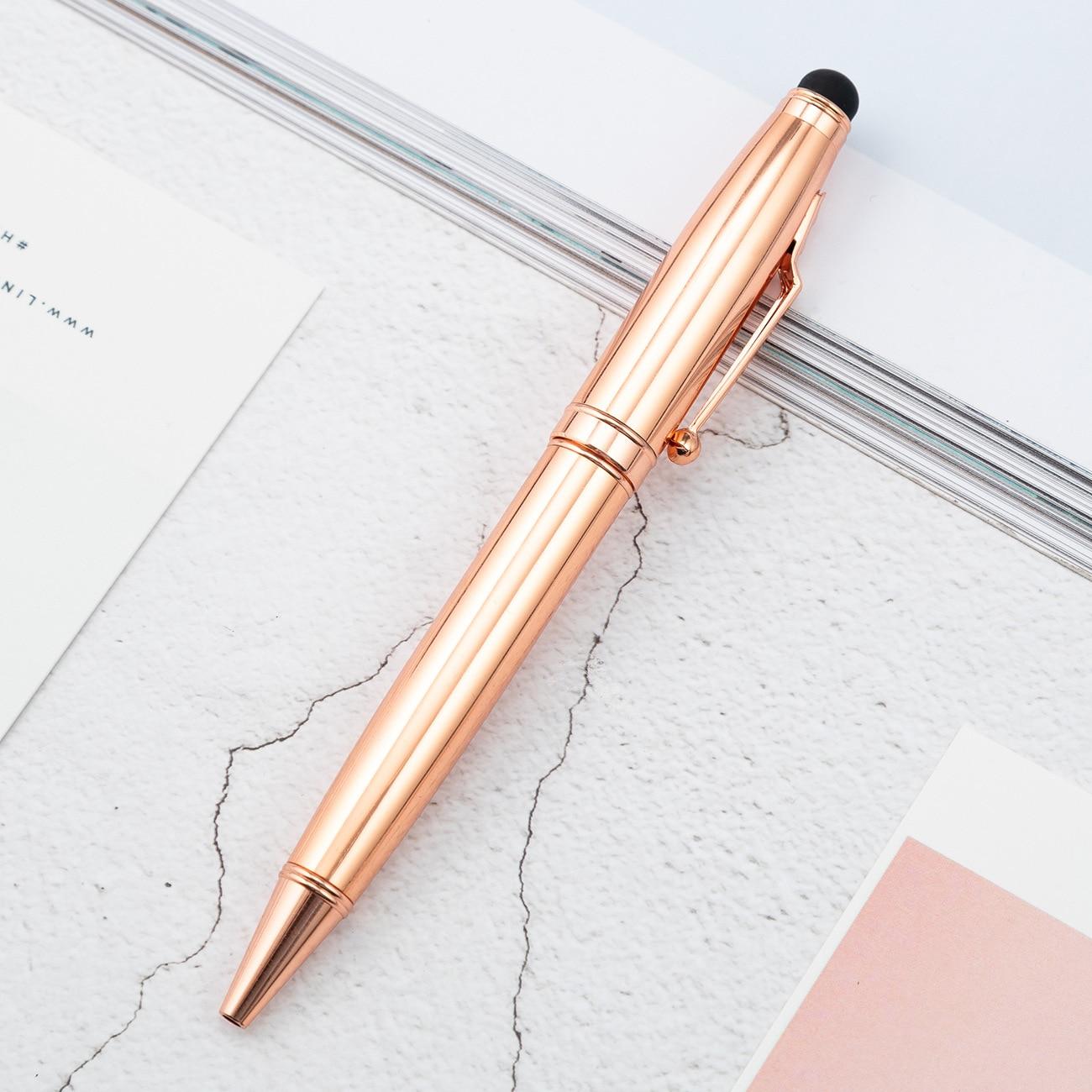 Stylo à bille multifonction de luxe en or Rose affaires écriture signature stylos tactiles fournitures de papeterie de bureau cadeau personnalisé