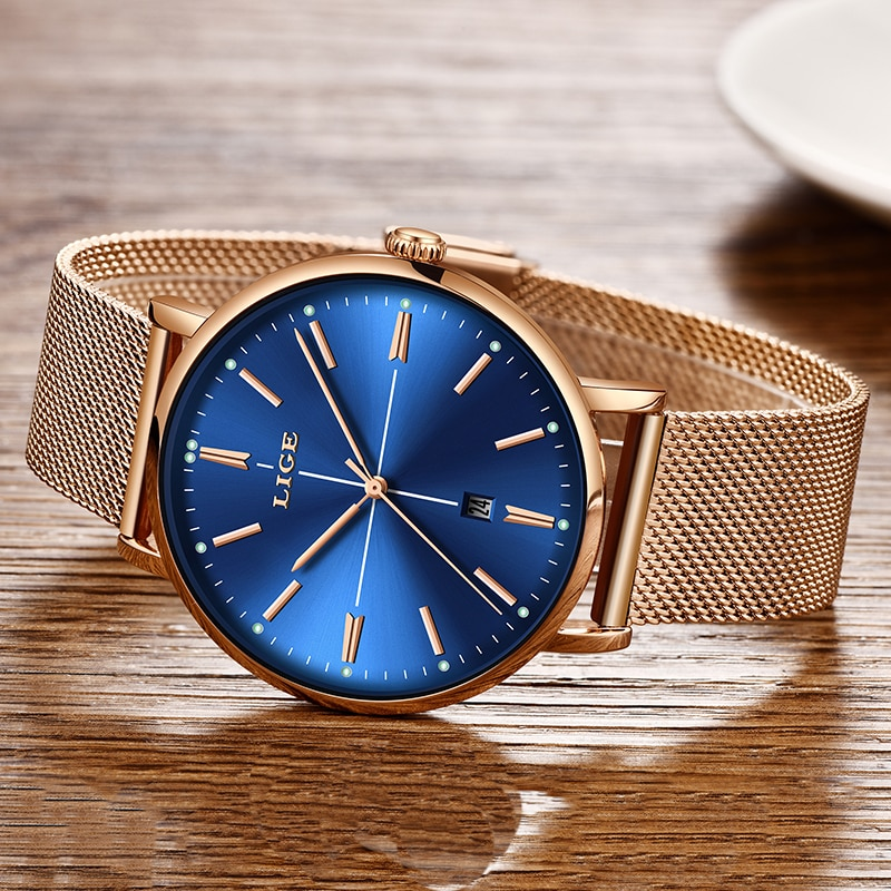 2021 LIGE New Rose Gold Blue Table Womens Business Quartz Watch Ladies Brand Top Luxury Ladies Watch Girl Clock Relogio Feminino enlarge