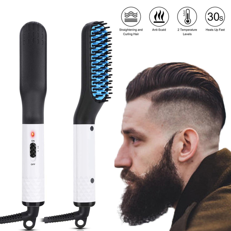 3 IN 1 Hair Straightener Brush Men Beard Brush Straightening Fast Heat Hot Comb Hairdryer Brush Electric Beard Brush Beard Comb