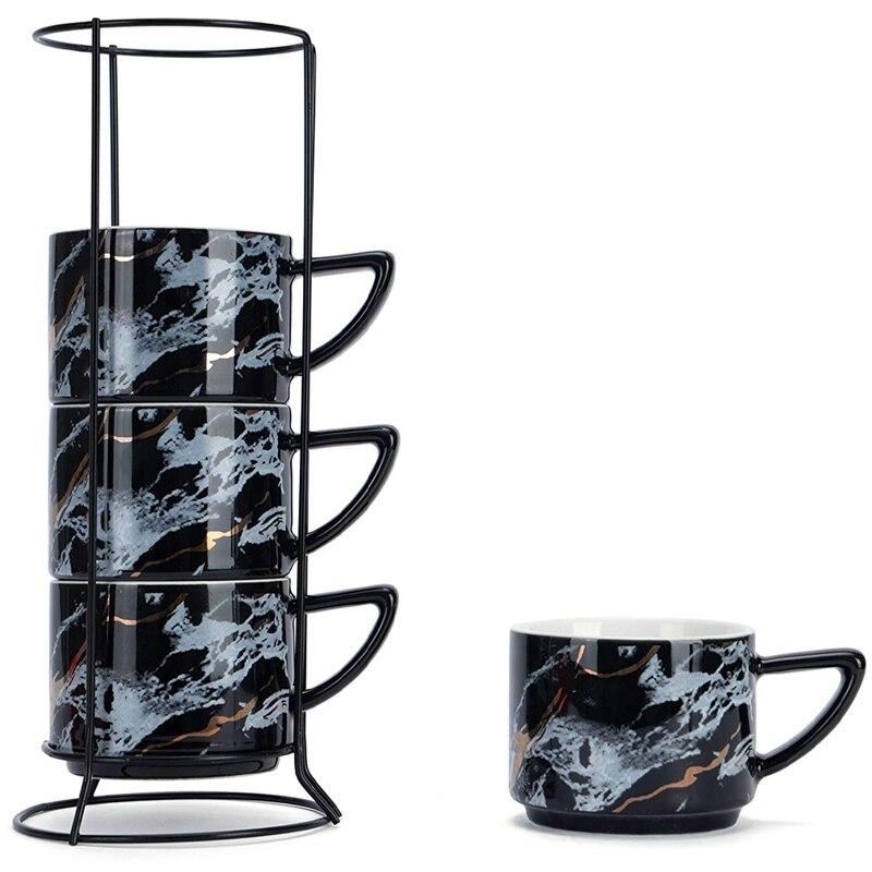 4 قطعة أكواب رخامي السيراميك أكواب القهوة تكويم 6.8Oz ، أكواب شاي الخزف مع حامل الفولاذ المقاوم للصدأ لمكتب المنزل