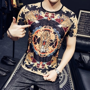 Gold Black Desinger Luxury Clothes Mens Tiger Transparent Stretch T Shirts For Mens 2021 Stylish Trendy Mesh Slim Fit Summer Tee