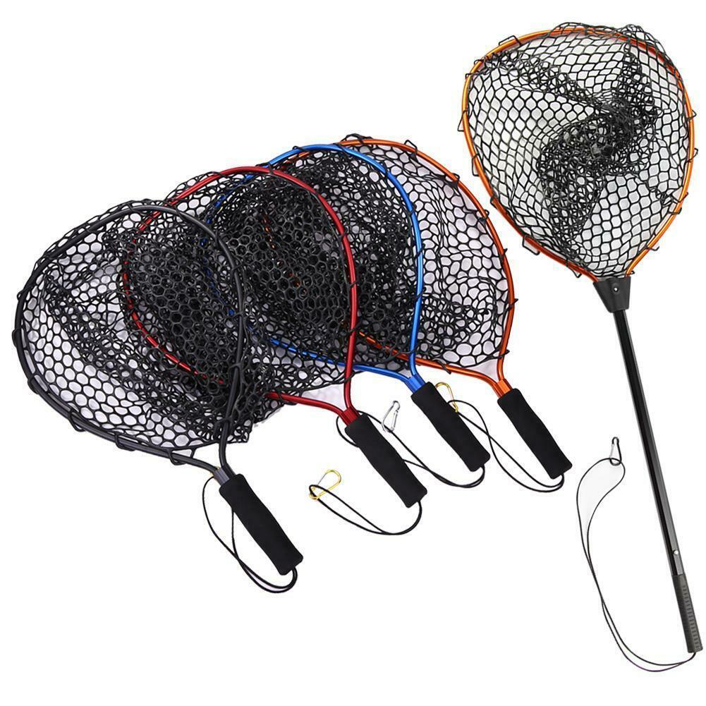 1 Uds. Red de pesca cómoda portátil antideslizante de aleación de aluminio red de pesca de aterrizaje para la captura de peces Red de goma de aterrizaje