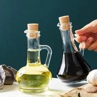 lead free glass seasoning oil bottles with wood plug multifunction spice jar honey sauce vinegar bottle