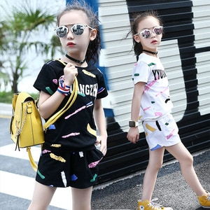 2021 Summer kids baby girls Clothes Outfits cotton T-shirt + Shorts pants Tracksuit For Kids teenager 4 5 6 7 8 9 10 11 12 Years